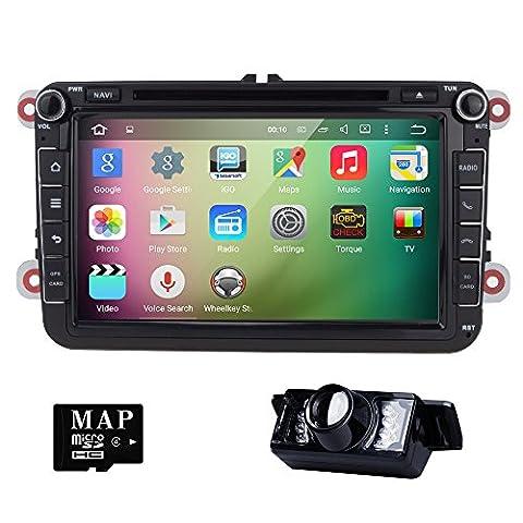 HIZPO 2 Din 8 Zoll Android 5.1 Lollipop Quad Core Autoradio Moniceiver DVD Player GPS Navigation für Golf Jetta Polo Unterstützt DAB+ Bluetooth OBD2 Wifi Lenkradfernbedienung mit