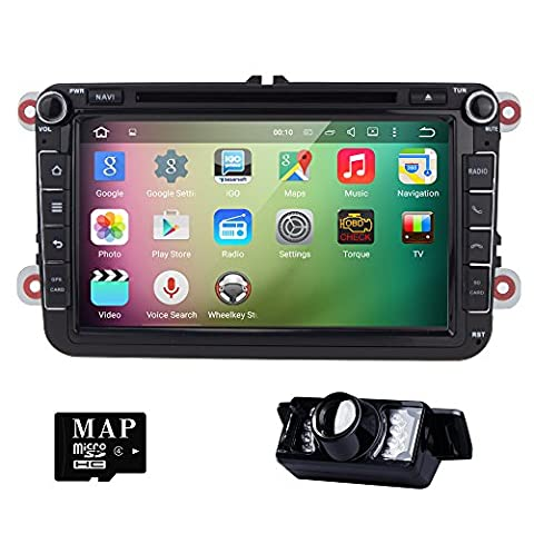 HIZPO 2 Din 8 Zoll Android 5.1 Lollipop Quad Core Autoradio Moniceiver DVD Player GPS Navigation für Golf Jetta Polo Unterstützt DAB+ Bluetooth OBD2 Wifi Lenkradfernbedienung mit Rückfahrkamera