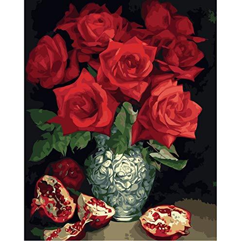 Malen Nach Zahlen Rose Granatapfel Stillleben Auf Leinwand Diy Öl Europa Dekoration Leinwand Malerei Für Wohnzimmer -