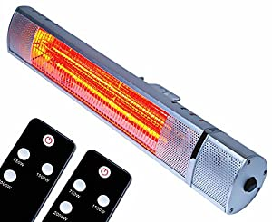 MYLEK 2kW Electric Patio Heater for Outdoor/Garden - IP65 Rated Waterproof & Rustproof - Wall Mountable with Remote Control/1 Heat Setting (2kW) Advanced Infrared Golden Tube Technology IP65 Rated