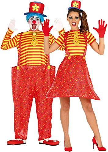 Fancy Me Paare Damen und Herren Crazy Comedy Bright Clown Circus Karneval Halloween Kostüm Outfits