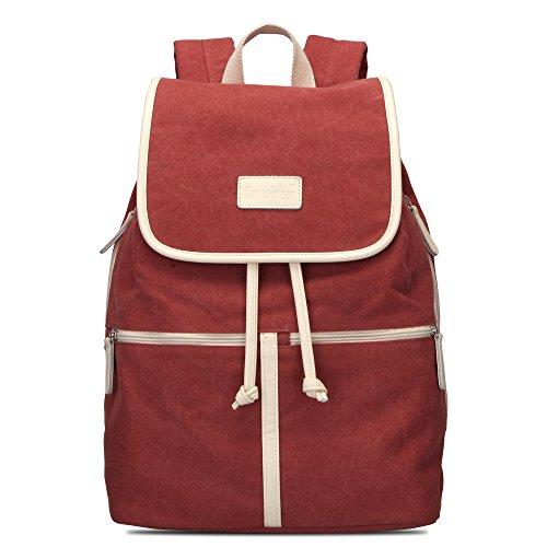 Bwiv Rucksäcke Canvas Unisex Schulrucksack Vintage Schultertasche Daypack Outdoor Backpack Damen Herren Tasche für Retro Reisetaschen Lässige Rot M Rot