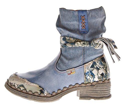 TMA - Stivaletti invernali da donna, stivali alla caviglia foderati, colore: Nero / Bianco / Verde / Blu, 5050 Blu jeans