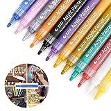 HanQix Vernice acrilica Marker Pen,12Colori Premium pennarelli per Pittura su Roccia, Vetro, Tela, Metallo, Legno, Ceramica, Uovo di Pasqua, progetti Fai-da-Te