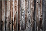 Wallario Garten-Poster Outdoor-Poster, Alte Holzwand - Holzplanken in Grau und Braun in Premiumqualität, für Den Außeneinsatz Geeignet