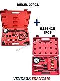 KIT Testeurs compression / Compressiomètres moteurs DIESEL 20 pcs + ESSENCE 9 pcs