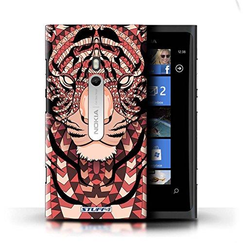 Coque en plastique pour Nokia Lumia 800 Collection Motif Animaux Aztec - Hibou-Couleur Tigre-Rouge