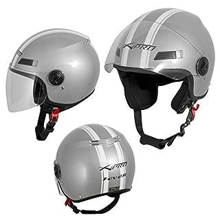 A-Pro Motorradhelm Motorrad Roller Offenes Jet Helm Viser ECE 22 05 Silber 2XL
