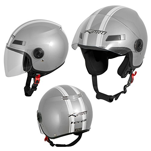 Motorradhelm Motorrad Roller Offenes Jet Helm Viser ECE 22 05 Silber S
