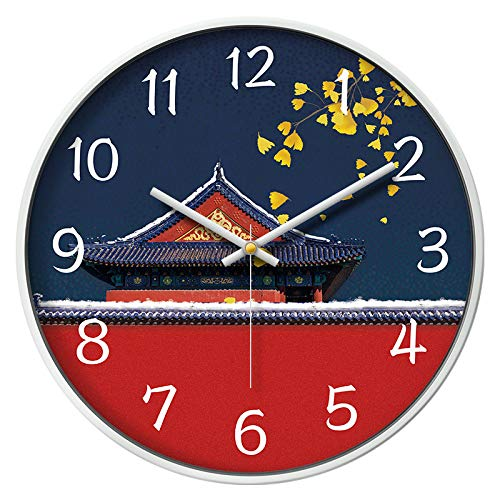 Frost White Frame (SJQ Creativity of New Chinese Wall Clock Living Room Large Wall Watch Chinese Wind Wall Clock Home Decoration Quartz Watch Bedroom Mute Narrow,12 inches,Golden Tile Frost White Frame)