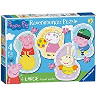 Ravensburger Peppa Pig 4 Large Shaped Jigsaw Puzzles (10,12,14,16pc)