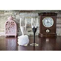 Copas de champán para boda con pompón, Tamaño 5x22.5 cm