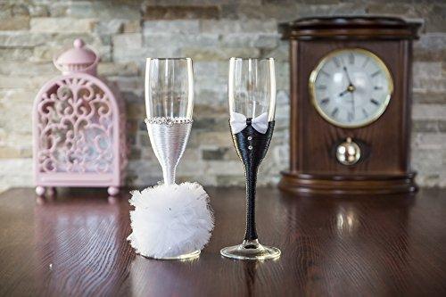 Art Deco- Copas de champán para boda con pompón, vidrio, Blanco, 5x22.5