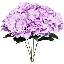 Turelifes artificiale hydrangea Silk Flower 7Big Heads Bounquet matrimonio decorazione floreale Light purple
