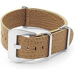 DASSARI Concrete Tan Italian Leather NATO Zulu Watch Strap 22mm