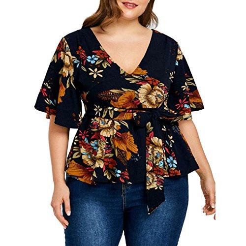 oniert Chiffon T Shirt Damen Oberteile Bluse V-Ausschnitt Kurzarm Tops Blumen Gedruckt asual Loose Plus Size Top T-Shirt (XL, Schwarz) (Damen Nike Loose Tank Top)