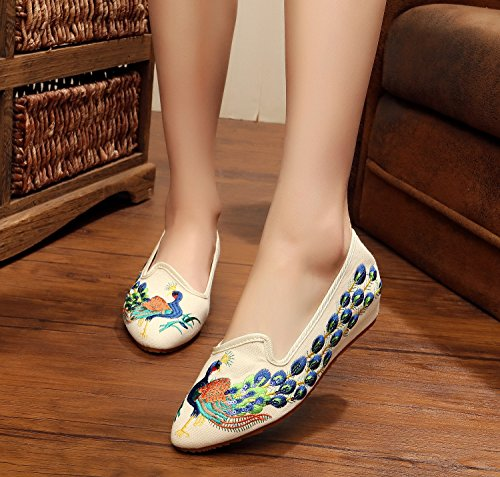 ZQ Feine bestickte Schuhe, Sehnensohle, ethnischer Stil, weibliche Schuhe, Mode, bequeme, exquisite Segeltuchschuhe Beige