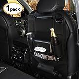 Favoto Auto Rücksitztasche Rückenlehnenschutz Rückenlehnen-Tasche Autositz Organizer PU Wasserdicht für Kinder Schwarz 60 x 42 cm