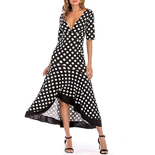 YYINHUI Robe Femme Sexy bohme col v Vintage Cocktail Imprim Floral Maxi Chic Manches Courtes Longues Été Robes de Plage Irrégulière Pois Jupe Mode Style Longue Robes Black-XL
