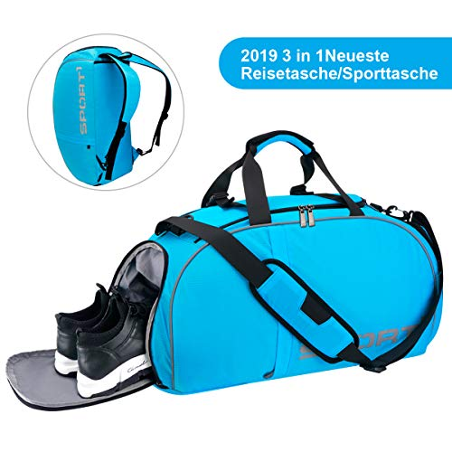 LC-dolida Sporttasche 35 L, 3 in 1 Reisetasche mit Schuhfach wasserdicht,Fitness Tasche Sporttasche Herren Damen(56cmx25cmx29cm)