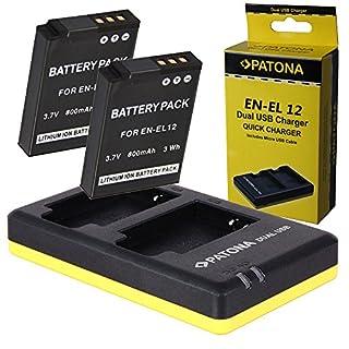 Dual Ladegerät PATONA + 2x Akku für Nikon EN-EL12 CoolPix S9900 S9700 S9600 S9500 S9400 S8200 S8000 P340 P310 P300 S31