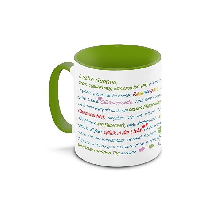 Tasse zum Geburtstag mit Namen Sabrina und vielen Glückwünschen, grün/weiss