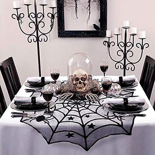 Liu Sensen Halloween-Dekorationen Kreis Spider Web Gothic Spitze Tischtuch Cobweb Table Cover Für Weihnachten Und Andere Party-Dekor Spitze Schwarz 102Cm/40 & 40Cm 1 Pcs