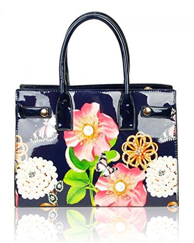 605 Large Size Damen TOTE BUSINESS für PERLE SCHWARZ Einkaufstasche Urlaub LeahWard Patent TASCHE Handtaschen Frauen Flower tv4w1