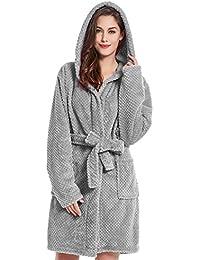 DecoKing Albornoz XS - XXXL Corto Mujer Hombre Unisex Capucha Bata Microfibra Suave Agradable Ligero Fleece Sleepyhead