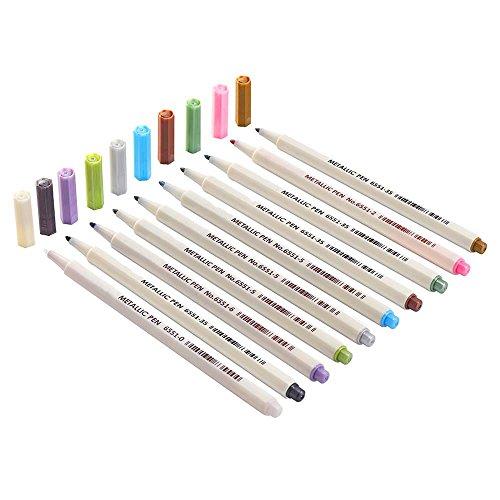 INIBUD Metallic Marker Pens, Satz von 10 Farben für Kartenherstellung DIY Fotoalbum Gebrauch auf irgendeiner Oberfläche-Papier Glas Kunststoff Keramik - 4