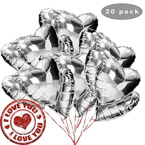 K 18 Zoll Silber Herz Folienballon,Herz Helium Luftballons,Folienballon Hochzeit ,Folienluftballon,Herz Ballons (Silber) ()