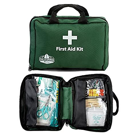 California Basics 115 Piece Professional First Aid Kit, Includes Cold Pack, Emergency Foil Blanket for Home, Office, Vehicle, Workplace, Travel and Child