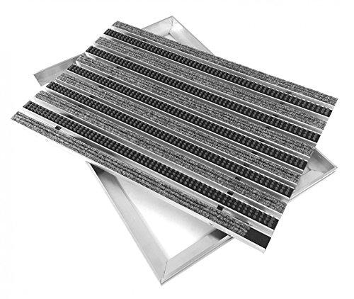 Preisvergleich Produktbild ACO Eingangsmatte Set 750x500mm Cassettenbürsten Rips hellgrau + Winkelrahmen Aluminium