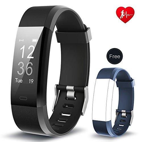 Fitness Tracker arbily yg3plus Heart Rate Monitor Smart pulsera actividad rastreador deporte podómetro con impermeable/Call mensaje control/monitor de sueño/cámara/calorías/sedentario alerta para Android y iOS (black-blue)