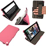 iGadgitz Hot Pink PU Leather Case Cover for Google Nexus 7 2012 1st Generation Android 4.1 Tablet 8GB 16GB. With Sleep/Wake Function, Integrated Hand Strap + Screen Protector (NOT suitable for the 2nd Generation released August 2013)