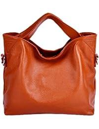 Dissa 2P3002 Sac à main en cuir femmes Orange 37x28x12cm (B x H x T)