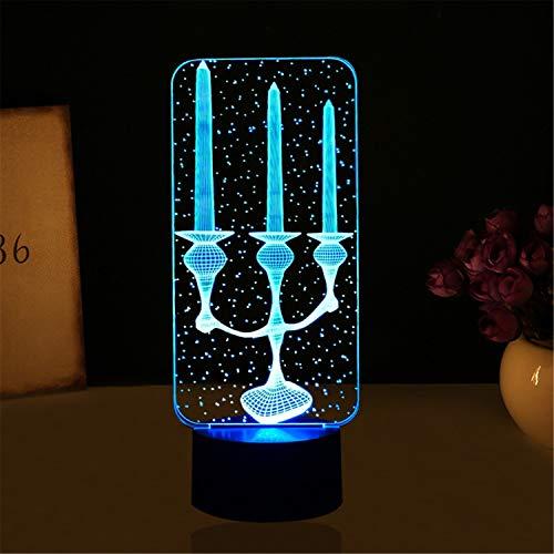 Lampade 3D, candela, 7 colori Cambio Touch/Telecomando Interruttore, Lampade Decorazione scrivania Regalo di compleanno Luce per bambini, base acrilica e cavo USB e alimentato a batteria AA
