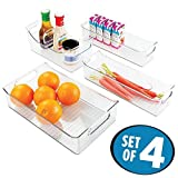 mDesign Juego de 4 cajas de plástico para cocina – Envases de plástico para alimentos – Cajas organizadoras para guardar alimentos en nevera o congelador – transparente