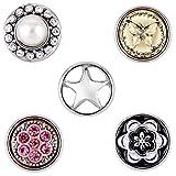 Morella® Damen SMALL Click-Button Set 5 Stück Druckknöpfe 12 mm Ø Stern Perle und Blume Zirkonia