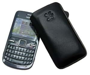 Original Suncase Echt Ledertasche (Lasche mit Rückzugfunktion) für Nokia C3-00 in schwarz