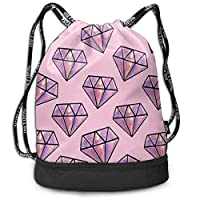 CheChenDengH Pink Diamond Pattern Print Drawstring Backpack Bag Outdoor Bundle Backpack Gym Sackpack Travel Sport Yoga Gym Cinch Bag Laptop Sack Bag Beach Rucksack for Women & Men