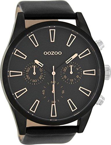 Oozoo Oozoo Herrenuhr mit Lederband 50 MM Schwarz/Schwarz C8204