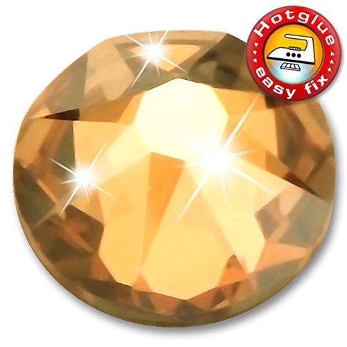 20 Stück SWAROVSKI Kristalle 2078 XIRIUS Hotfix, Crystal Golden Shadow, SS34 (Ø ca. 7,1 mm), Strasssteine zum Aufbügeln