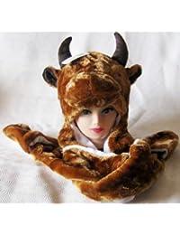 3-en-1 mamamemo Animal faceTrapper sombrero/bufanda/guantes.