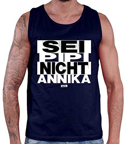 Fashion Kostüm Victim - HARIZ Herren Tank Top Sei PIPI Nicht Annika Sprüche Schwarz Weiß Plus Geschenkkarten Navy Blau M