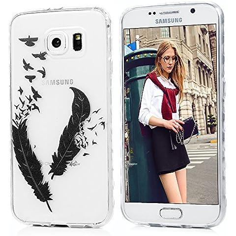 Custodia Samsung Galaxy S6 Silicone TPU verniciata, Badalink Cover Colore Modello Design,uccelli piuma