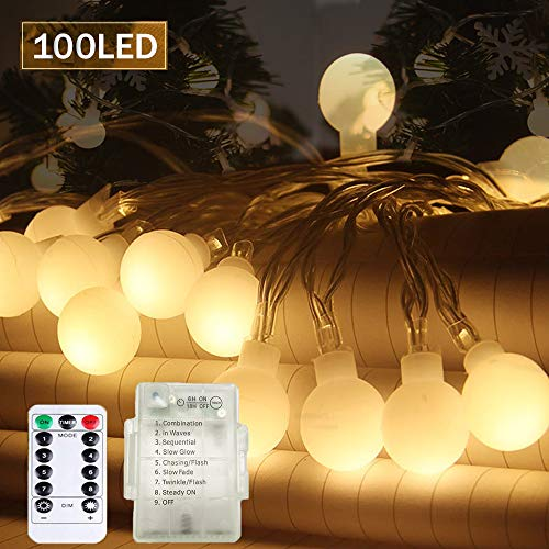 SPECOOL 100 LED Glühbirne Lichterketten, 【Fernbedienung & Timer】 39FT 8 Modi Wasserdicht Globe Lichterkette Beleuchtung Perfekt für Schlafzimmer Balkon/Hochzeit/Weihnachten,Garten - Warmweiß -