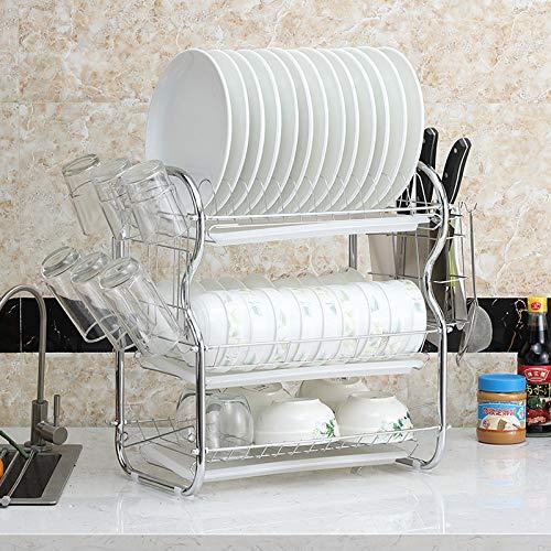 Rack Schmiedeeisen Küche Finishing Drei-Schicht-Abtropfgestell Multifunktions-Schüssel Rack weiß B Wort drei Tassen -