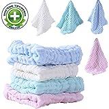 """BWINKA 12-Pack Gauze Muslin Square, 11x11 """"Organics Baby Washcloths, Premium lingettes réutilisables - Extra doux pour la peau sensible, Nouveau-né Muslin Warm bébé serviettes de bain"""