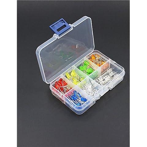 XMQC*5mm rojo / amarillo / azul / verde / naranja// 3-color púrpura diodos LED Kit (130 piezas)